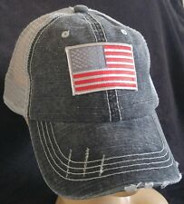 USA Flag Distressed Trucker Cap Low Profile Special Cotton Mesh Red & Gray flag