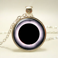 Vintage Cabochon Eclipses Silver Plated Glass Chain Pendant Necklace LS#131