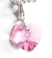 Silber 925 Anhänger Charm mit Swarovski® Kristall Herz-chen Rosa Pink in Etui
