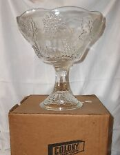 Colony Glass Harvest Clear Pattern Compote  NOS