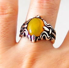 TURKISH MEN's RING 925 STERLING SILVER YELLOW AGATE AQEEQ  STONE #657
