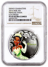 2016 Niue $2 1 Oz Colorized Silver Disney Princess Tiana NGC PF69 UC SKU38832