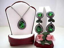 """Brighton """"RAINDROPS"""" Emerald Green Necklace-Earring Set (MSR$146) NWT/Pouch"""