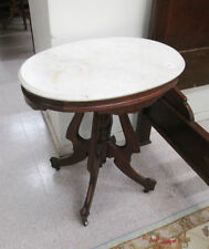 VICTORIAN MARBLE-TOP WALNUT LAMP TABLE, American, Lot 285