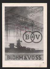 HAMBURG, Werbung 1939, Blohm & Voss Bau-Werft