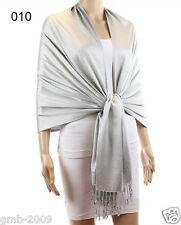 New Soft Classic Solid Silver 100% Cashmere Wool Pashmina Shawl Scarf Stole Wrap