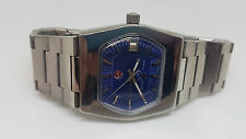 RARE VINTAGE 70'S RADO SILVER SABRE BLUE DIAL DATE AUTOMATIC MAN'S WATCH
