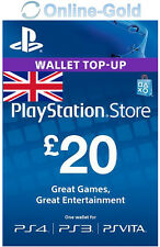 PSN Card UK 20 Pound WALLET Card - PlayStation Network £20 GBP Code Key NEW- UK