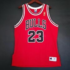 100% Authentic Michael Jordan NBA 50th Champion Bulls Red Jersey 48 - gold logo