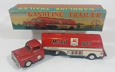 Vintage 50's Momoya Tin Friction Toy GMC Mobil Gas Truck Gasoline Trailer Japan