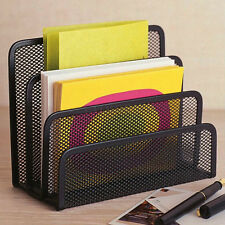 Black Metal Letter Paper File Storage Rack Holders Tray Organiser Desktop-Office