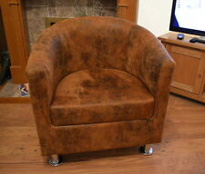 Tub Chair in Premium Distressed Brown Faux Suede Leather With Metal Legs