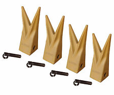 Backhoe Bucket Cat Style Tiger Teeth with pins & retainers, Set of 4, 1U3202WTL