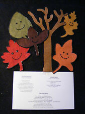 "Felt/ Flannel Board Story  ""5 Leaves /Fall"" Preschool Circle Time Educational"