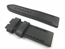 24mm Black Leather Watch Band Strap Fits Panerai