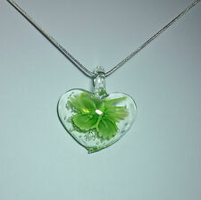 Lampwork glass with Green Flower Heart Design on 925 Sterling Silver Necklace