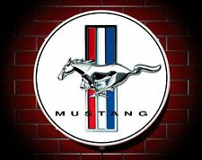 MUSTANG LED 600mm ILLUMINATED WALL LIGHT CAR BADGE GARAGE SIGN LOGO MAN CAVE