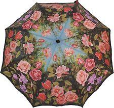 Artbrollies Rose Garden compacto paraguas plegable de cierre abierto Manual de Arte Floral