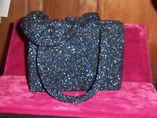 French beaded Paris Charlet evening bag Navy Blue satin change purse 1930s Mint
