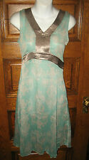 NEW! Gorgeous Aqua/Mint & Pewter Scroll Design Semi-sheer DRESS by VM, NWOT, S