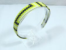 Tribal Chevron Zig Zag Patterned Headband 1 inch wide Neon Yellow Navy Ouchless