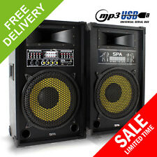 "2x Skytec SPY1200 Karaoke PA 12"" Speakers Active DJ Party Mobile Disco 1200W"