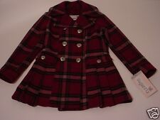 Sugarfly Girls Magenta Plaid Double Breasted Pleated Skirt Hem Wool Coat Medium