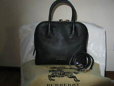 Authentic Burberry Black Leather Greenwood Bowling Handbag