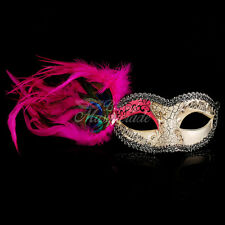 Pink Musical Masquerade Mask - Peacock Feather Mask Venetian Details for Women