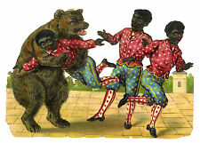"c1890 VICTORIAN DIE-CUT ALBUM SCRAP ~ NEGRO BOYS FIGHTING a BEAR 6""x4"" EMBOSSED"