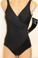 New Womens Miraclesuit Swimsuit 1 one piece Oceanus swimwear Sz 22W Black