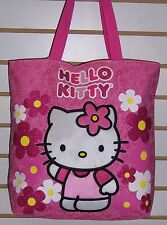 Sanrio HELLO KITTY Pink Sparkle Flowers TOTE Shoulder BAG Purse NEW!!