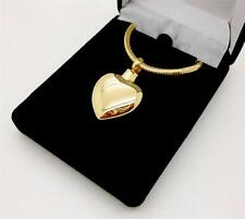 Stainless Steel Gold Heart Memorial Keepsake Cremation Urn Pendant Jewellery NIB