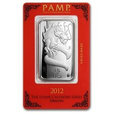 PAMP Suisse 2012 The Lunar Calendar Series Dragon 1 oz Silver Bar (in Assay)