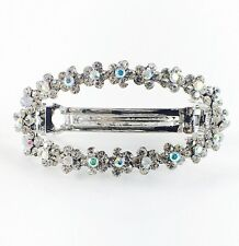 USA BARRETTE Rhinestone Crystal Hair Clip hairpin Vintage Simple Silver M04