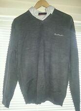 Pierre Cardin Mens Mock V Neck Jumper - Large/Grey/Charcoal/Marl/NEW/Shirt