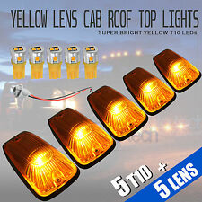 5pcs Yellow LED Roof Top Truck SUV Cab Marker Running Clearance Light Set Kit