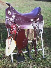 "15,5"" Western style McClellan Camp saddle w/rigging, tooled leather"