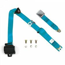 3 Point Electric Blue Retractable Seat Belt Chrome Airplane Buckle with bolts