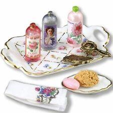 DOLLHOUSE Bath & Body Accessories Set 1.706/8 Reutter Gold Crosshatch 1:12