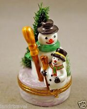 NEW SNOWMAN FRENCH LIMOGES BOX TWO CUTE SNOWMEN IN HAT W BROOM & CHRISTMAS TREE