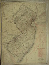 1922 LARGE MAP ~ NEW JERSEY ~ RAILROADS ~ BURLINGTON HAMILTON ROUTES MCNALLY
