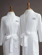 Personalized Wedding Gifts Mr./Mrs. Embroidered Waffle Robe Luxor Linens Spa Set