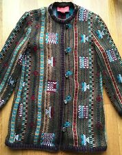Emanuel Ungaro Vintage Aztec Navajo Embroidered Blanket Sweater Jacket Sz 12