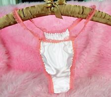 White Silky DOuble Satin pink Smooth frilly Sissy Rio Tanga panties OS 26-40