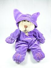 Genich stuff animal Brown teddy bear purple velvet outfit with Hat new