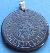 Runen Amulett Horn Rabe im Runenkreis