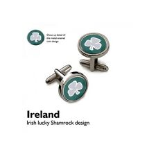 Lucky Clover Leaf CUFFLINKS Irish Shamrock Charm Ireland Good Luck GIFT BOX
