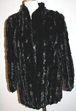 Black RANCH MINK Sheared Sectioned Textured Long LS Fur Coat S M