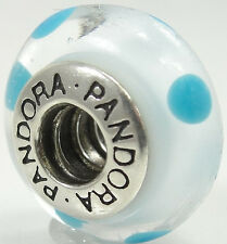 Pandora Sterling Silver Murano Glass White Teal Polka Dots Charm Bead 790608